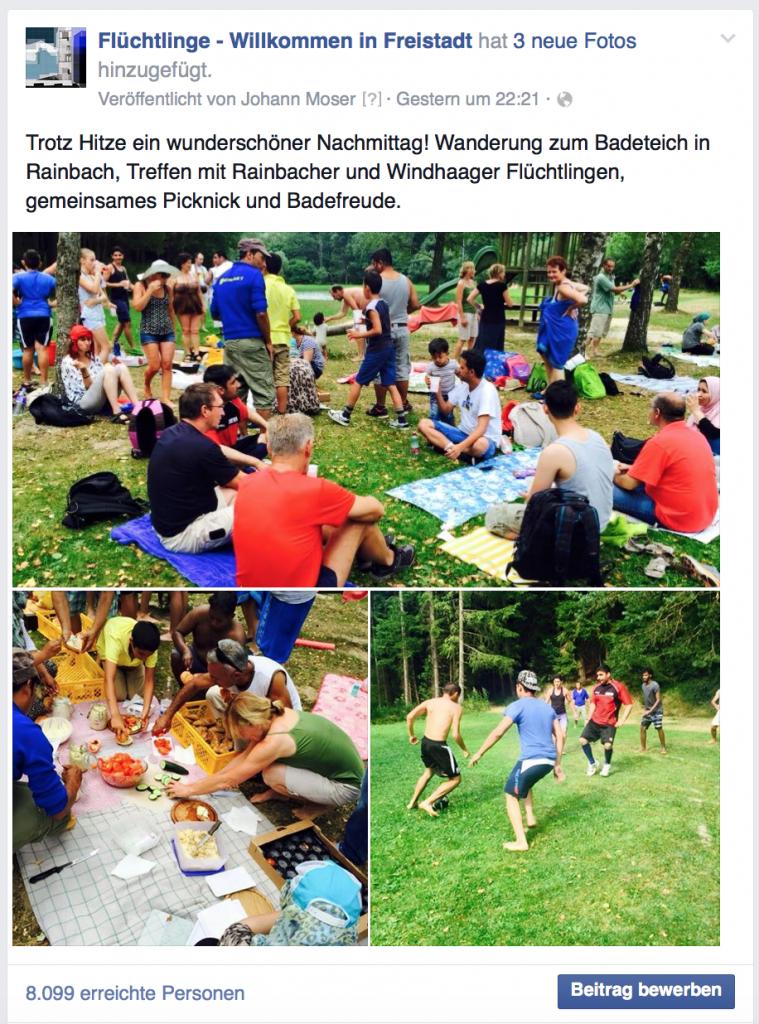 Großes Echo für die Fotos vom Picknick am BAdeteich Rainbach.